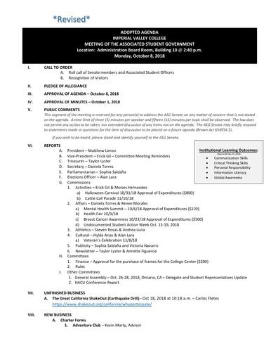 Agenda ASG 2018 10 08