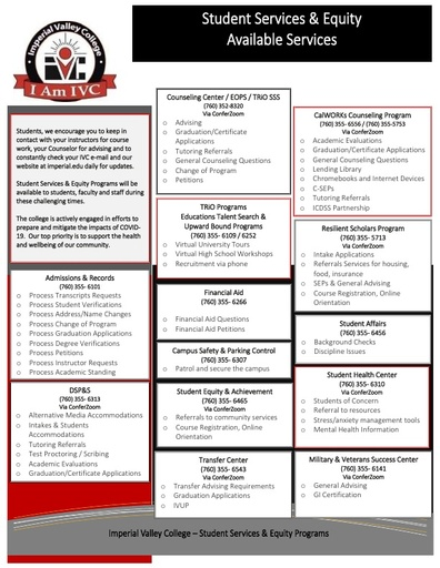 Student Services & Equity Available Services