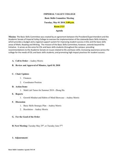 Basic Skills Agenda 2018 05 01
