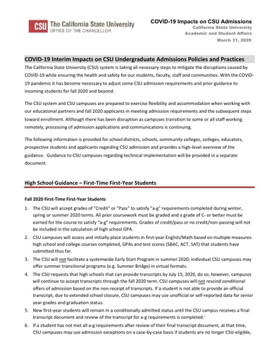 CSU Undergraduate Admissions COVID 19 Impacts for CDE