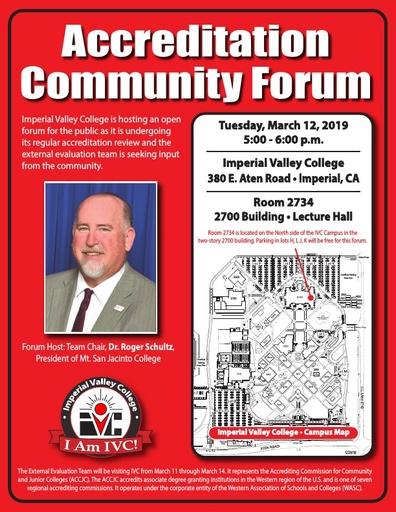 2019 Accreditation Community Forum Flyer