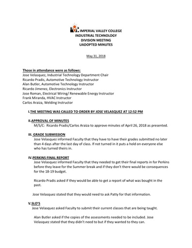 Industrial Tech Dept Meeting Minutes 5-31-18