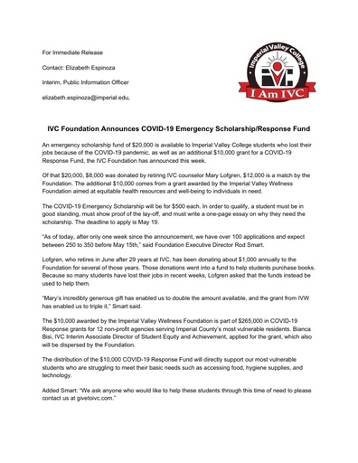 IVC Foundation COVID 19 Emergency Scholarship and Response Fund