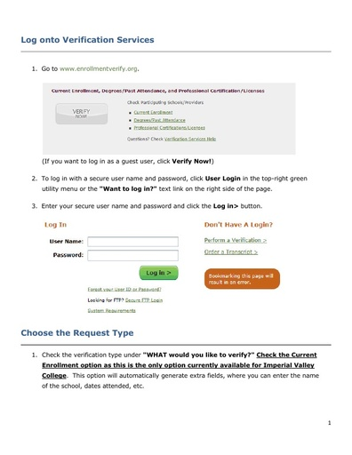 How to Log Onto Enrollment Verification Services