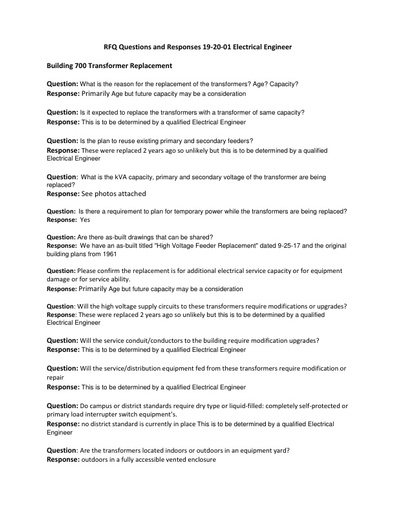 RFQ Questions and Responses 19 20 01 Electrical Engineer