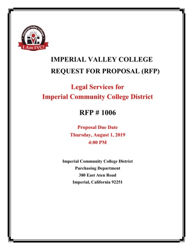 RFP No. 1006 Request for Proposal Legal Services Due August 1