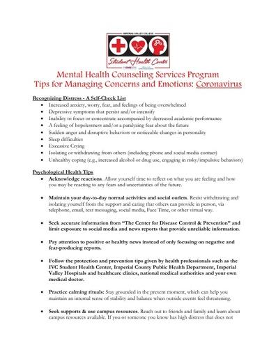 Psychological Tips for Managing Coronavirus Concerns 032020 Updated